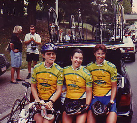 Pip with some of her 1996 Womens Tour de Feminine (France), Ebly International Womens Team (riders Tia Vikstedt-Nyman, Elizabeth Emery)